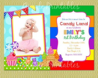 Candy Land Birthday Invitation - FREE thank you card included