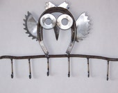 Primitive Garden Folk metal art sculpture, horseshoe owl metal key holder.
