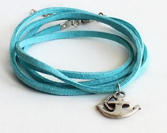Anchor bracelet necklace, wrap bracelet necklace, blue turquoise suede summer tibetan silver anchor bohemian