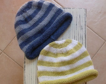 Choice of colour - green or blue stripes hat, hand knitted striped baby hat, beanie fit 6 months to 9 months, rolled edge hat, baby knitwear