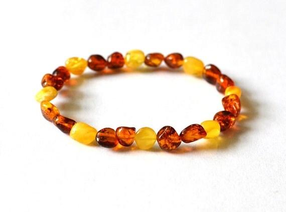 Summer Amber Bracelet Natural Amber Jewelry Cognac Lemon Yellow Sunny Jewelry Unisex