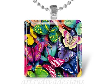 COLORFUL BUTTERFLIES Butterfly Spring Summer Garden Glass Tile Pendant Necklace Keyring