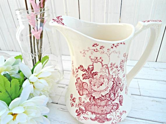 Vintage Alfred Meakin Pitcher - Vtg red and white Charlotte pattern English pitcher vase