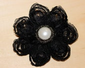 Black Chiffon Flower Hair Clip embellished with a vintage pearl center