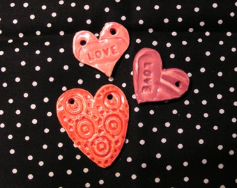 Heart Trinket Beads Charms Juju Fetish Totem Favor Bauble Clay Ceramic Pottery Texture Set/3 Love Love Swirl Gift Tag Ornament