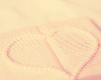 Open Book photo Digital Download Fine Art Photography romantic print book and pearls Decorating Ideas