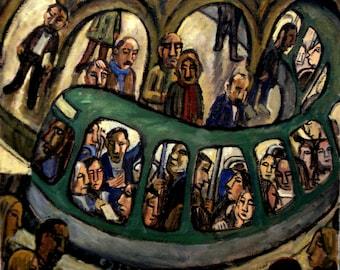 Romanesque Metro, Subway Night. Large Oil on Canvas, 26x30 Modern Fine Art, Original Industrial Metro Painting, Signed Original