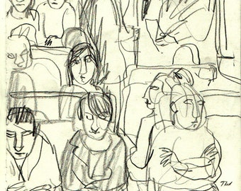In the Metro, Packed. Original 8x11 Pencil Drawing, Modern Contemporary Expressionist Fine Art, Signed Original Drawing