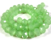 Green Rondelle Crystals 6x4mm (4x6mm) Opaque Jade Green Faceted Chinese Crystal Beads on an 8 1/4 Inch Strand with 49 Beads