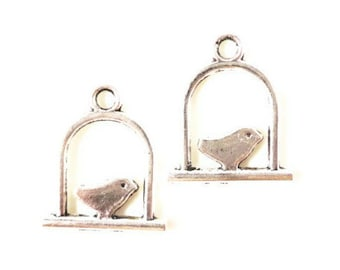 Silver Bird Charms 18x15mm Antique Silver Tone Metal Bird on a Swing Double Sided Charm Pendant Jewelry Findings 10pcs