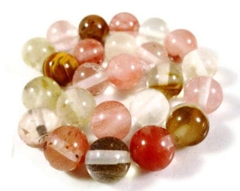 Tourmaline Gemstone Beads 8mm Round Watermelon Tourmaline Quartz Multicolor Semiprecious Stone Beads on a 7 1/2 Inch Strand with 24 Beads