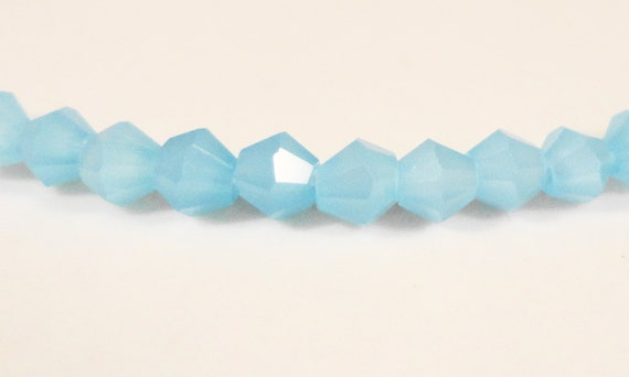Blue Bicone Crystal Beads 3mm Opaque Robins Egg Blue Tiny Faceted Chinese Crystal Glass Beads 100 Loose Beads per Pack