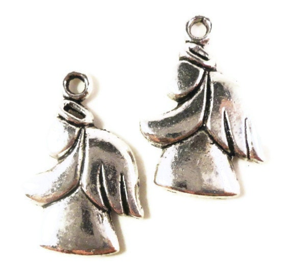 Silver Angel Charms 24x17mm Antique Silver Tone Metal Christmas Religious Spiritual Charm Pendant Jewelry Findings 10pcs