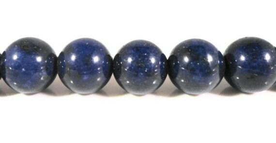 Lapis Gemstone Beads 10mm Round Deep Blue (Dyed) Lapis Lazuli Semiprecious Stone Beads on a 7 1/2 Inch Strand with 20 Beads