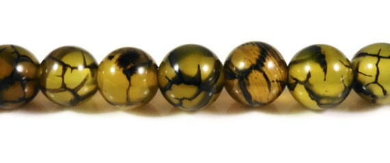 """15"""" Strand Dragons Vein Agate Beads 6mm Round Agate Stone Beads, Black and Yellow Fire Agate Gemstone Beads on a Full Strand with 62 Beads"""