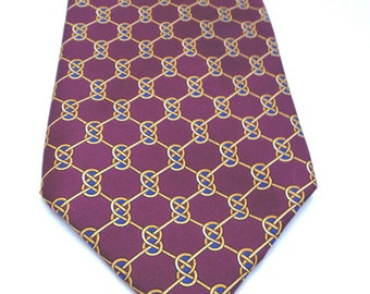 Vintage Fendi silk necktie, gold and mauve