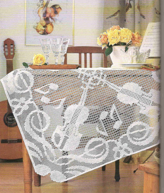 Crochet Wedding Gifts Patterns: Items Similar To Handmade Filet Crochet Tablecloth, White