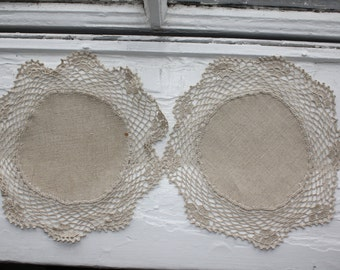 Two vintage handmade petite doilies, from Finland