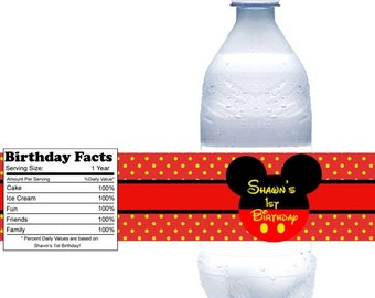 Mickey Mouse  Head - Personalized water bottle labels - Set of 5  Waterproof labels