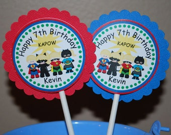 Super Heros Cupcake Toppers - Set of 12 Personalized Birthday Party Decorations