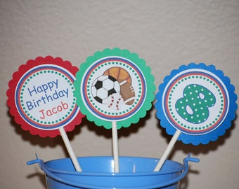 Sports Cupcake Toppers - Set of 12 Personalized Birthday Party Decorations
