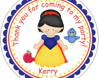Princess Snow White - Personalized Stickers, Party Favor Tags, Thank You Tags, Gift Tags, Address labels, Birthday, Baby Shower
