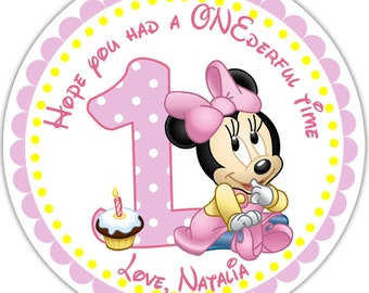 Baby Minnie - Personalized Stickers, Party Favor Tags, Thank You Tags, Gift Tags, Address labels, Birthday, Baby Shower