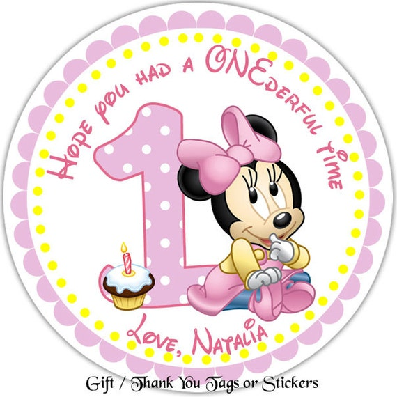 Baby minnie personalized stickers party favor tags thank you tags