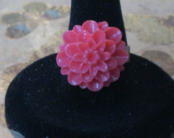 Coral Pink Flower Acrylic Adjustable Ring