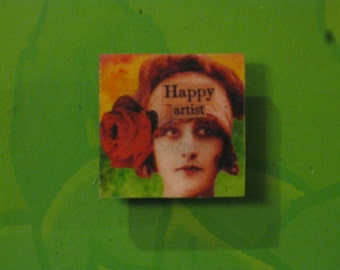 Happy Artist Vintage 1920's Lady with Rose Mirror Tile Magnet
