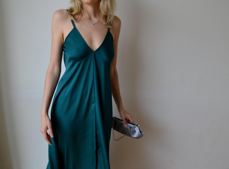 Emerald green dark teal maxi dress Party bridesmaid wedding