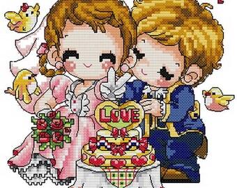 PDF file counted aida cross stitch kids pattern for wedding KK172
