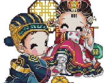 Digital downloadable PDF file counted aida cross stitch korean baby pattern for wedding KK126