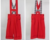 Boys pants  - Red cotton pants overalls - Reversible H bar suspenders