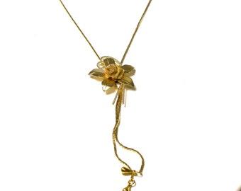 Vintage Gold Tone Flower Necklace - Bolo Tie Necklace - Adjustable - Slider Necklace # 1174