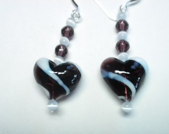 Hand Blown Glass Heart Earrings in Amethyst and White