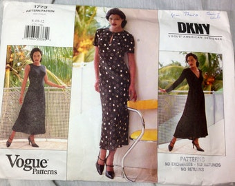 Vogue American Designer Pattern, Donna Karan New York, Vogue 1773, Fitted A Line Dress, Uncut, Size 8, 10, 12