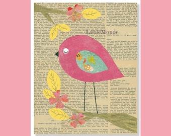 Baby Girl Nursery Prints, NURSERY ART PRINTS, Bird Nursery Print, Boho Nursery Art, Pink Nursery, French Nursery, Vintage Nursery
