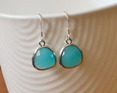 Aquamarine Glass Earrings, Rhodium Plated Bezel Charms, Sterling Silver Ear Wires, Everyday Wear Jewelry