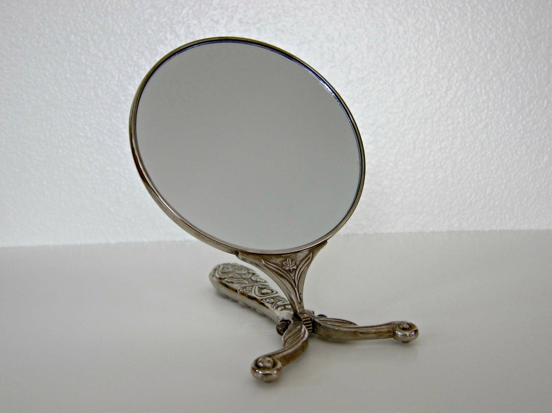 vintage silver vanity mirror by godinger by backaroundvintage. Black Bedroom Furniture Sets. Home Design Ideas