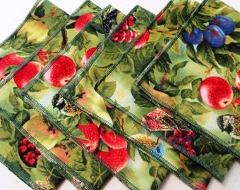 """Set of 6.Cloth Napkins. Size is 14,5""""x13,5"""". 100% cotton.Olive green, red, blue,green birds sanctuary"""
