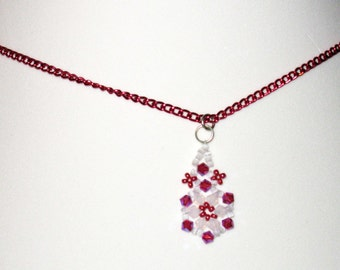 Color-enhance Chain with Magenta Crystal Mini Pendant