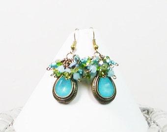Wire Wrapped Earrings, Antiqued Earrings, Turquoise Earrings, Dangle Earrings. Beaded Earrings