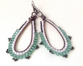 DROP EARRINGS light green, crystal jewerly dangle beadwork, beadwoven jewelry, opaque rose earrings, gift for her,