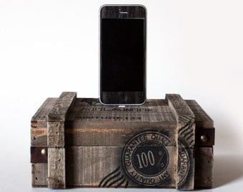 Nautical Wood Crate iPhone Dock - iPhone 5, iPhone 5S, iPhone 6 - Storage and iPhone Charger