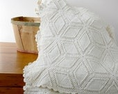 Vintage Crocheted Bedspread - cream hand crocheted pristine condition off white spring mothers day easter