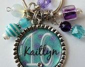 Personalized Sweet 16 Keychain, peacock, childrens name, grandma, grandaughter, mom, gift, present, sister, aunt, daughter, teal purple