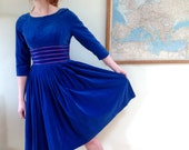 vintage 50s Blue Velvet Party Dress