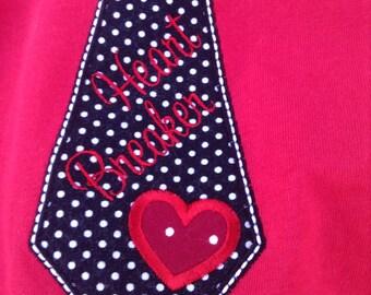 Heart Breaker Tie Appliqué Shirt