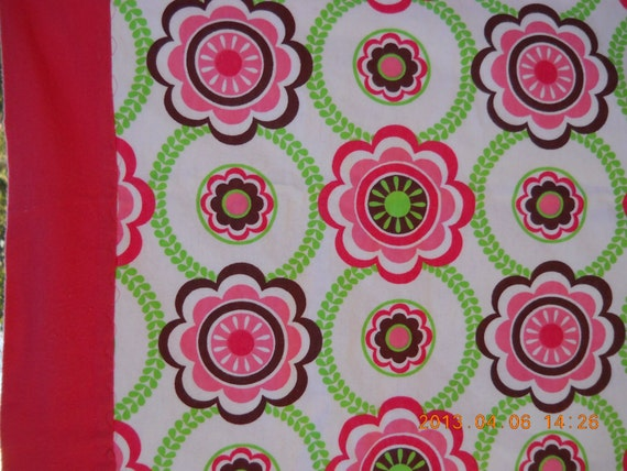 Girly Large Flannel Receiving Blanket